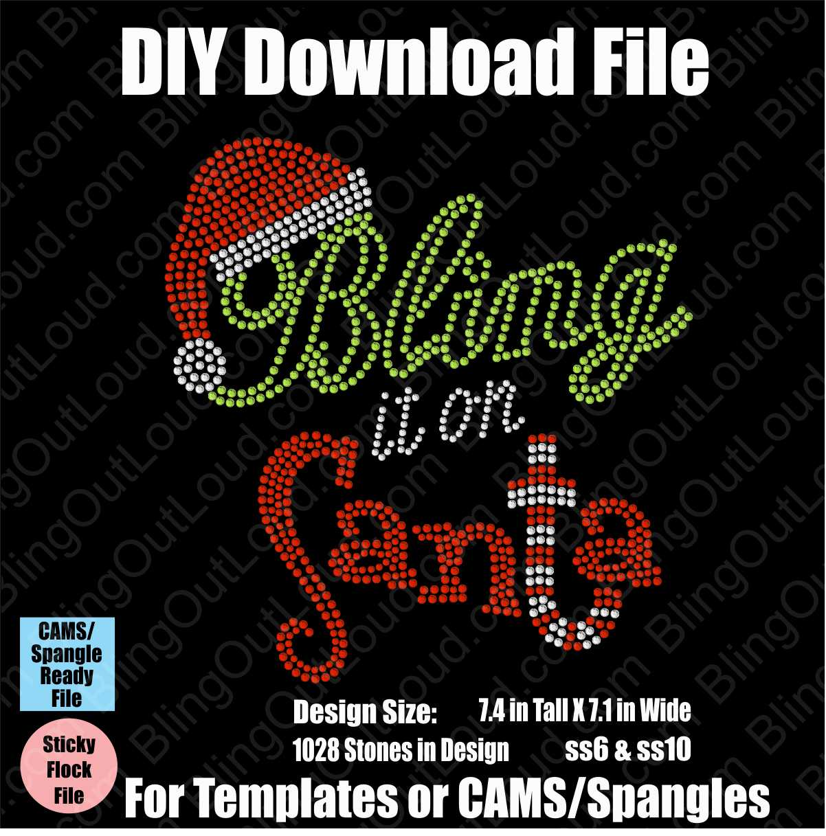 Bling It On Santa Christmas Download File - CAMS/ProSpangle/Templates