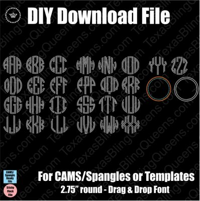 "Circle Monogram 2.75"" with Frames Download File - CAMS/ProSpangle & Templates"